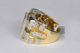 diamond men rings images Mens diamond large square signet ring 14k yellow gold 4 12 ct jpg