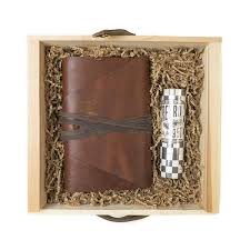 leather messenger journal and pen gift set rustico