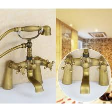 Bathtub Faucet Shower Attachment Deck Mount Antique Brass Body Claw Foot Bathtub Faucet With Hand