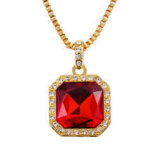 red necklace pendant images Mens iced out hip hop red square pendant necklace red stone charm jpg