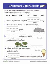 beginning grammar contractions worksheet education com