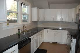 kitchen dark wood kitchen black floor white backsplash ideas