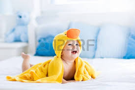 Toddler Bathtub For Shower Happy Laughing Baby Wearing Yellow Hooded Duck Towel Sitting