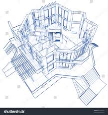 blueprint house architecture blueprint house technical draw stock illustration