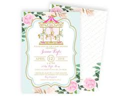 carousel baby shower vintage carousel baby shower invitation girl baby shower invite