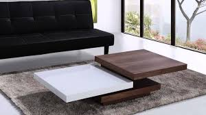 beliani coffee table swivel panels walnut and white aveiro