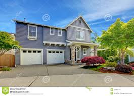 grey american house with two garage doors stock images image