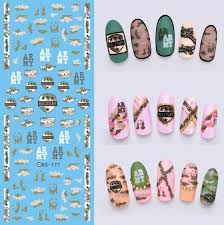 ds177 diy new water transfer nails art sticker army military