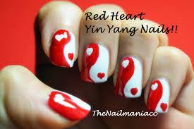 valentine u0027s day nail art red heart yin yang design youtube