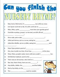 nursery rhyme baby shower baby shower can you finish the nursery rhyme easy