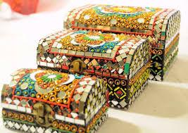 handcrafts treasure box mirror beads work decorative decor in home