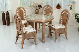 Wicker Patio Dining Chairs Dining Room Brown Rattan Furniture Set With Woven Rattan Dining