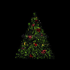 black colored christmas lights christmas tree with colored circles on black background 3d rendering