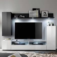 Wohnzimmerm El Tv Tv Anbauwand Jasonva In Schwarz Weiß Hochglanz Pharao24 De