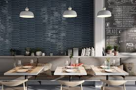 quirky cafe blue feature wall with hexagon tile featuring crayon