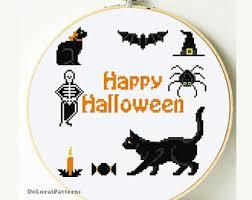 Diy Halloween Wall Decorations Halloween Cross Stitch Pattern Cat Cross Stitch Diy Halloween