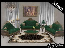second life marketplace mesh emerald victorian living room set