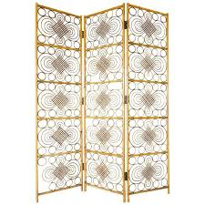Wicker Room Divider Mid Century Vintage Bohemian Style Three Panel Wicker Room Divider