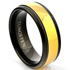 black gold wedding sets gold tungsten wedding band