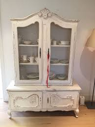 french style shabby chic armoire white chicken wire doors