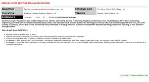 Food Service Manager Resume Sample by Cover Letter Food Service