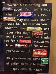 turning 60 party ideas age the hill 60th birthday card poster using candy bars