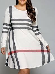plus size striped dress in white xl sammydress