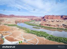 moab jeep trails aerial view canyon colorado river near stock photo 661509664