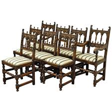 set eight solid carved oak 1930s jacobean or gothic style