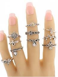ring set leaf tortoise geometric jewelry ring set silver rings zaful