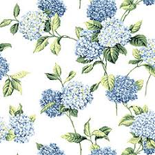 hydrangea blue on white t3905 collection boat house from thibaut