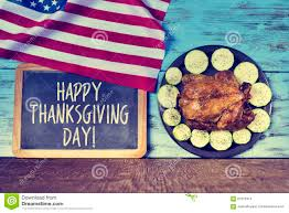 text happy thanksgiving day and roast turkey stock photo image