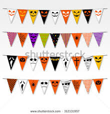 vector triangle bunting flags halloween garland stock vector