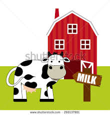 A Cartoon Barn Cow Eating Grass Barn Cute Vector Stock Vector 545255149