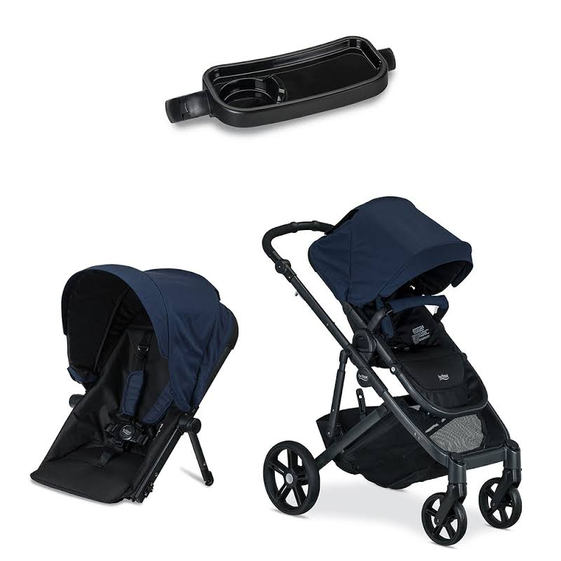 Britax B Ready Folding Baby Stroller, Second Seat Conversion, And Snack Tray