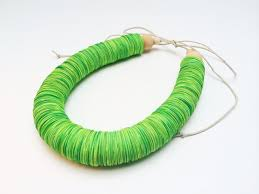 green paper easter grass paper necklace bright green jewelry easter grass firs