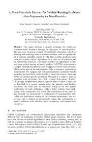 a meta heuristic factory for vehicle routing problems springer