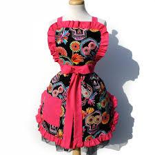 retro apron mexican sugar skulls 50s inspired day of the dead cute