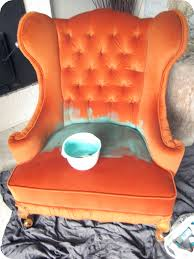 my house of giggles tufted wing chair makeover painting upholstery
