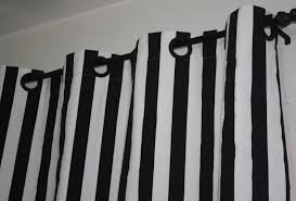 Navy Blue And White Horizontal Striped Curtains Black And White Striped Curtains Decofurnish