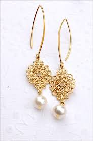 gold earrings for wedding items similar to bridal gold earrings with aaa freshwater