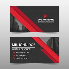 Red Business Cards Black And Red Business Card Vector Free Download