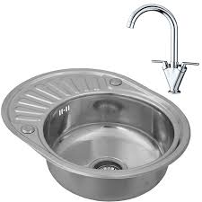 ENKI Compact Single Bowl Inset Round Stainless Steel Kitchen Sink - Compact kitchen sinks stainless steel