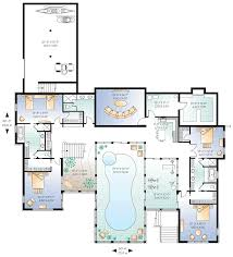 house plans with indoor swimming pool lower floor plan of coastal contemporary house plan 65567 best