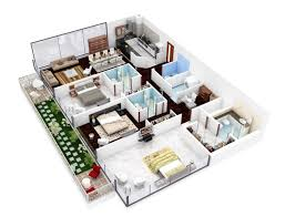 3d Office Floor Plan Insight Of 3 Bedroom 3d Floor Plans In Your House Or Apartment Design