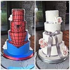 half and half wedding cake marvel spiderman superhero wedding