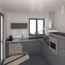 meuble cuisine inox brossé cuisine et moderne grise en l plan de travail noir mat avec