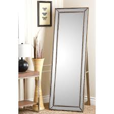 abbyson cosmo nailhead trim floor mirror mirror silver glass