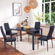 Costway  Piece Kitchen Dining Set Glass Metal Table And  Chairs - Dining room table glass