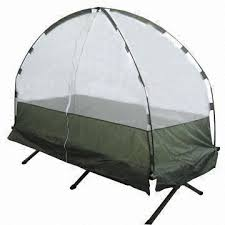 portable camp bed with mosquito net system available in aluminum